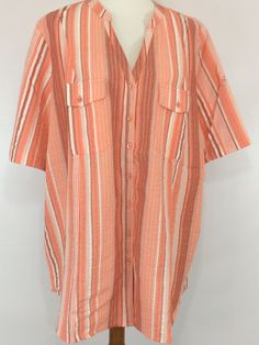 c851b37344f Woman s Button Down Shirt SZ 22W Orange Peach Short Sleeves with Button New   Roamans