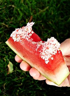 watermelon soaked in tequila and dipped in coarse salt…  a margarita you can EAT.