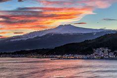 #Etna in un pittoresco #tramonto d'inverno e il paese di Giardini Naxos #sicily #sunset  ©Photo Credit: Michele Ungaro