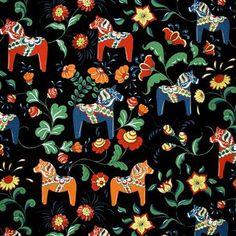 Tela Caballo de Dalarna - negro - Arvidssons Textil