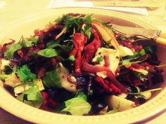 Roasted-beetroot rubbed chicken salad... http://theimaginativelynamedfoodblog.blogspot.co.uk/2012/11/autumn-leaves-salad-leaves.html