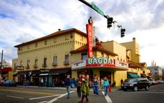 McMenamins Bagdad Theater - .3702 S.E. Hawthorne Blvd.  Portland, OR 97214  Pub: (503) 467-7521  Movie Line: (503) 249-7474 x1  bagdad@mcmenamins.com  For nearly four generations now, the Bagdad's Mediterranean/neon persona and daily films have made it an icon of Portland's vibrant Hawthorne District