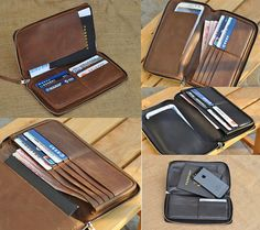 Genuine Long Leather wallet with lagre by FocusmanLeather on Etsy, $69.00