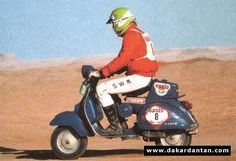 Paris Dakar Vespa! Amazing, I wonder if he made it all the way.