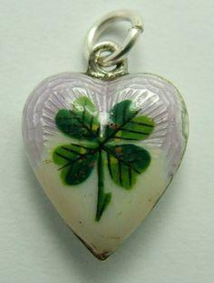 Edwardian Silver & Guilloche Enamel Four Leaf Clover Heart Charm
