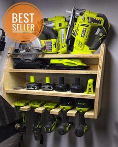 Power Tool Organizer, Power Tool Storage, Garage Tool Storage, Garage Tools, Storage Racks, Garage Ideas, Garage Workbench, Shop Storage, Diy Garage