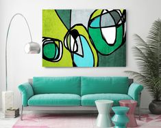 Vibrant Colorful Abstract-68. Mid-Century Modern Green Blue Canvas Art Print, Mid Century Modern Canvas Art Print up to 72 by Irena Orlov