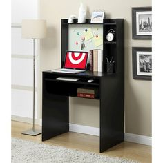 Designs2Go Student Desk with Magnetic Bulletin Board Black - Convenience Concepts : Target
