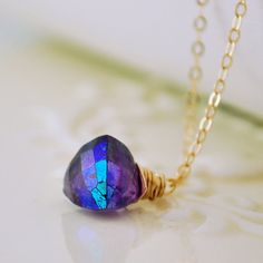 Mystic Amethyst Pendant Necklace by livjewellery