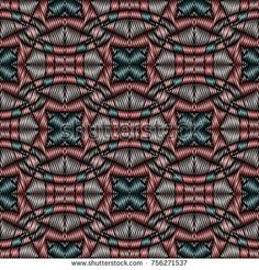 Embroidery colorful pattern with geometric ornament.