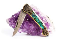 Image of Ophelia Opalite Abalone Shell Gold Pocket Knife