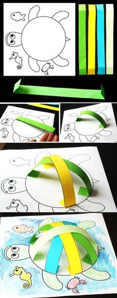Kaplumbağa yapımı, etkinlikleri el işleri çalışması ve örnekleri kağıttan kartondan basit kolay etkinliği çalışmaları. Preschool activities craft site. KALIP Kaplumbağa Kalıbı