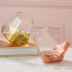 Shine Bright Like a Diamond Stemless Wine Glass Assorted 2 Colors: Gold and Rose Gold oz., hand wash only) - Glass Material: GLASS Sold Individually Dimensions: H x 3 Dia