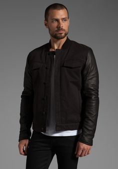 T BY ALEXANDER WANG Jean Jacket with Leather Sleeves in Black - T by Alexander Wang