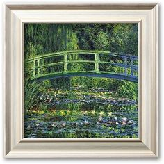 Art.com Water Lily Pond, c. 1899 Framed Art Print by Claude Monet,... ($67) ❤ liked on Polyvore featuring home, home decor, wall art, champagne, horizontal wall art, wood home decor, framed wall art, handmade home decor and wooden wall art