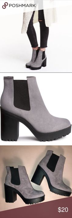 H&M Platform Booties Extremely comfortable platform booties from H&M. Faux suede in dove grey. Rubber bottom. There is a slight scuff mark on the toe of one shoe, hardly noticeable when worn. H&M Shoes Ankle Boots & Booties