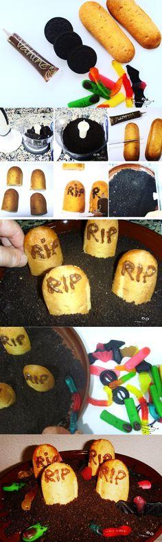 Delicioso cementerio dulce para Halloween  Vía: Manualidadesinfantiles