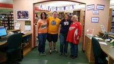 Spirit Week at the Shelby Library!  Wednesday was Team/College Day!  We've got MLB, NBA, NFL and NHL!!!!