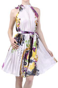 Satin Pleated Short Sleeveless Dress with Paisley Design