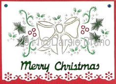 Christmas Bow Paper Embroidery Pattern for Greeting Cards