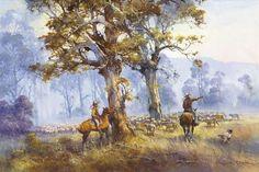 Doyle - Page 5 - Australian Art Auction Records Australian Painting, Australian Artists, Landscape Art, Landscape Paintings, Landscapes, Australian Bush, Foggy Morning, Western Art, Art Auction