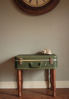 Lucky Luggage Suitcase Table Upcycled Antique by SalvageShack