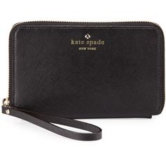 kate spade new york cherry Lane Laurie Wristlet Wallet ($148) ❤ liked on Polyvore featuring bags, wallets, saffiano leather wallet, logo bags, wristlet wallet, zip-around wallet and kate spade wristlet