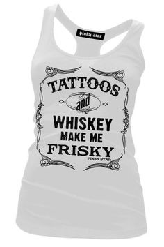 Women's Tattoos and Whiskey White Racer Tank Top