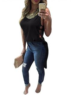 Special Offer: $8.16 amazon.com Product Information:The size information is as the last picture show,2-3 cm errors,2-3 cm errors.Sleeveless,irregular hem,round neck,fashion sexy style,simple design,leading the fashion trend,show you fashionable and sexy.This shirt is a great addition to your...