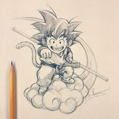 Son #Goku & Flying #Nimbus. One of the fictional characters I idolize. Eat, sleep, train, fight and eventually become Super Saiyan >=D. #Anime #Dragonball #Sketch #Illustration - Visit now for 3D Dragon Ball Z compression shirts now on sale! #dragonball #dbz #dragonballsuper