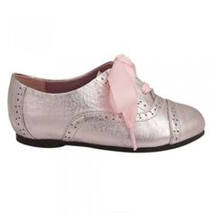 Nina Shoes Pink Metallic Oxford Ribbon Lace Toddler Little Girls 7-5M SO WANT THIS FOR LEXIE