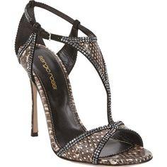 Sergio Rossi Snake Crystal-Embellished T-strap Sandals Sale up to 70% off at Barneyswarehouse.com
