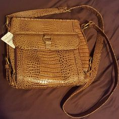 Brand New Coldwater Creek Purse Impressive rich leather Sophie Croco Organizer Coldwater Creek Bags Shoulder Bags