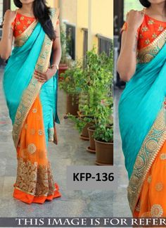 Fulfill your desire for Bollywood Replica Sarees by doing online shopping. KaaviFab offers you opportunity for Bollywood Replica Sarees online shopping. Lehenga Choli Online, Indian Sarees Online, Net Saree, Georgette Sarees, Chiffon Saree, Bollywood Saree, Bollywood Fashion, Sky Blue Saree, Orange Color Combinations