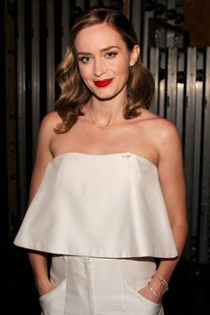 Emily Blunt throws back a classic old-school hair style. Click here for tips on how to get the look.