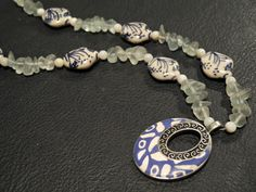 Sea glass, porcelain and pendant beaded necklace