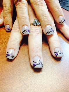Sparkle acrylic tips with beautiful nail art