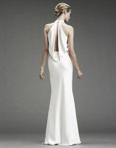 Slinky silk halter wedding dress with deep v halter and open slit back
