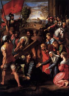 Raphaël - Raffaello - Rafael - Renaissance - Christ Falling on the Way to Calvary - Le Portement de Croix - 1517 Santa Maria, Raphael Paintings, Art Ninja, Painting Prints, Art Prints, Time Painting, High Renaissance, Jesus Christus, Christian Art