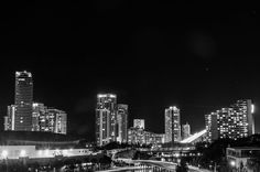 Gold Coast City By Night In BW-A night view of the beautiful city of Gold Coast, Queensland, Australia.