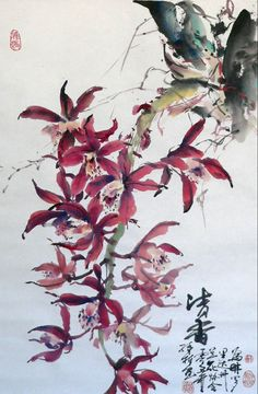 Orchid (Spontaneous Style, hang scroll) - by Lian Quan Zhen (b. China - ), USA.