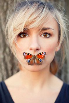 If you manage to shoot a portrait of a woman with a butterfly in front of her mouth and still yes still looking at  her eyes before seeing the butterfly, you know you have shot it perfectly. Photo by Ino Zeljak