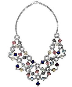 Style&co. Silver-Tone Multicolor Bead Linked Bib Necklace