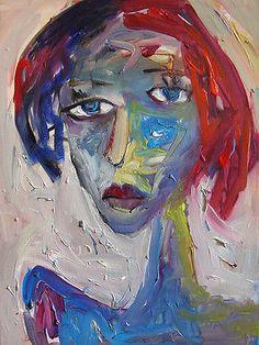 Large-Original-Modern-Art-Abstract-portrait-Painting-NICE-NR
