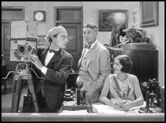 Buster Keaton, Harold Goodwin and Marceline Day in 'The Cameraman'