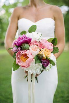 peony + garden rose pink + purple bouquet | Brooke Courtney Photography #wedding