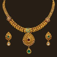 Gold Kundan Short Necklace Set (110A14328/108A37312) | Vummidi Bangaru Jewellers