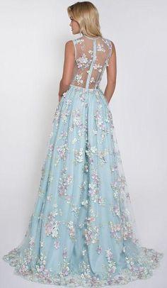 A-line V-neck Floor-length Sleeveless Tulle Prom Dress/Evening Dress # VB210