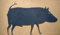 A pig drawing by Bill Traylor. Simple, peculiar and rudimentary in perspective, yet it's beautiful and interesting to me.