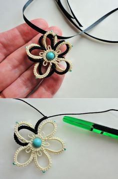 Yarnplayer's Tatting Blog: Double Flower Using Celtic Shuttle                                                                                                                                                      More
